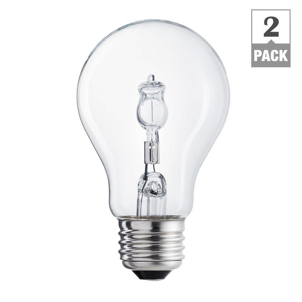 100-Watt Equivalent A19 Clear Halogen Light Bulb (2-Pack)