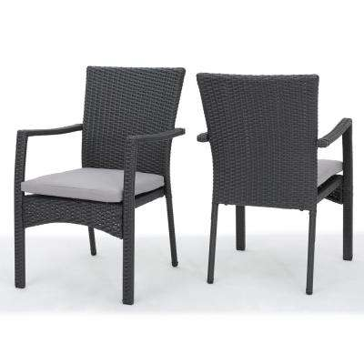 Zachariah Grey Wicker Outdoor Dining Chair with Grey Cushion (2-Pack)