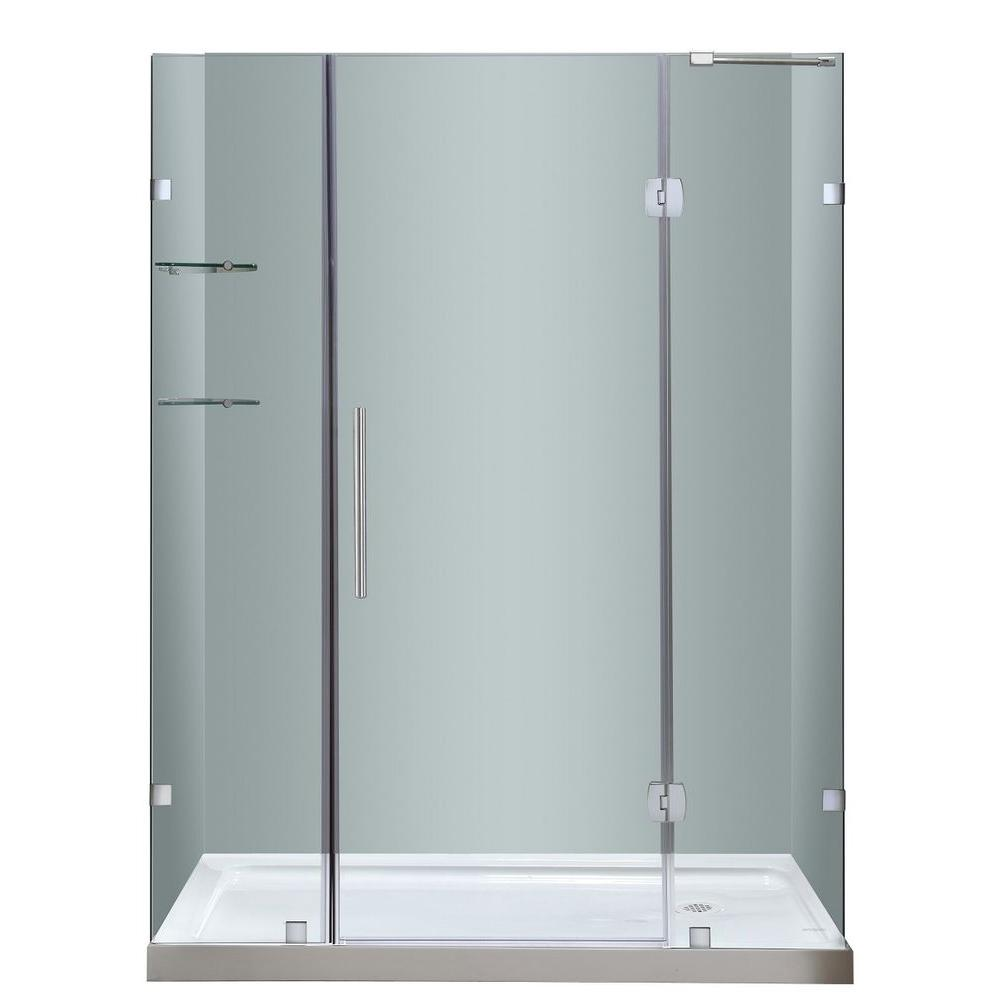 Aston Soleil 60 in. x 77-1/2 in. Completely Frameless Hinge Shower ...