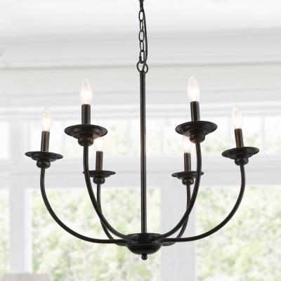 Black Farmhouse Candle Chandelier Light Luraca 6-Light Modern Traditional Chandelier Kitchen Island Pendant Lighting
