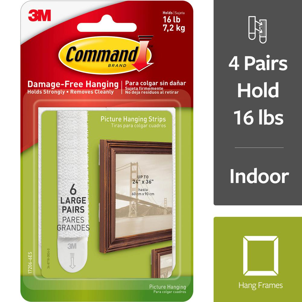 Command Large Picture Hanging Strips Value Pack  (6 Sets of Strips)