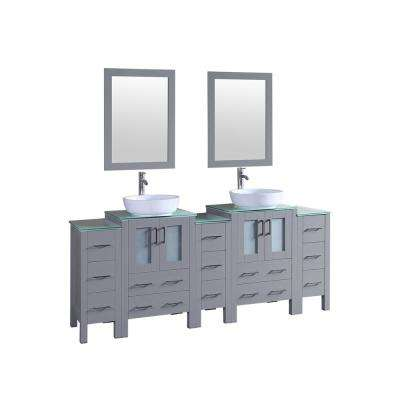 Bosconi 84 in. W Double Bath Vanity in Gray with Vanity Top in Green with White Basin and Mirror