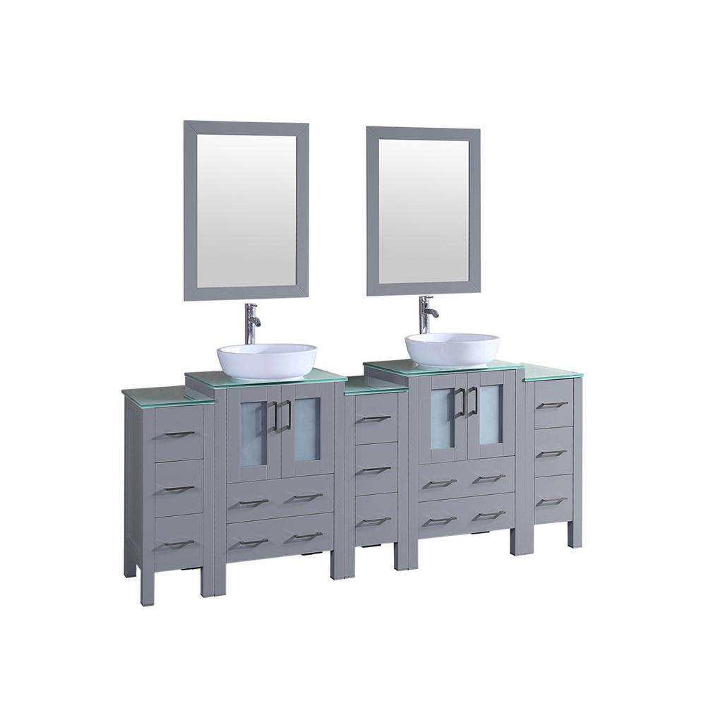 Bosconi 84 in. W Double Bath Vanity in Gray with Vanity