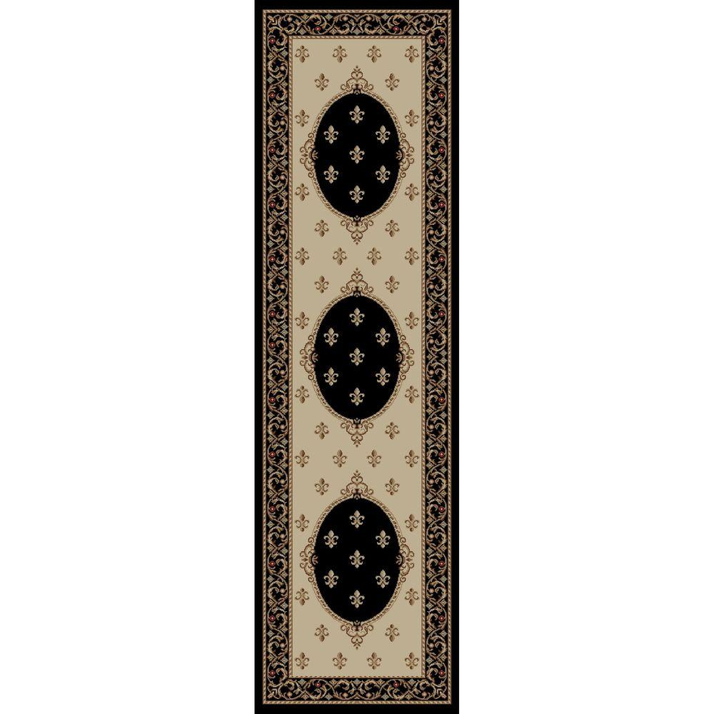 Jewel Fleur De Lysmedallion Black 2 ft. 3 in. x 7