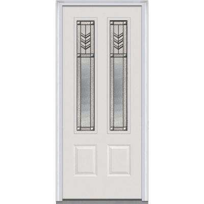 36 in. x 80 in. Prairie Bevel Left-Hand Inswing 2-Lite Decorative 2-Panel Primed Fiberglass Smooth Prehung Front Door