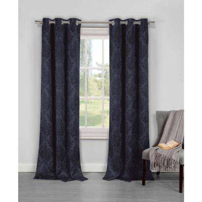 Semi-Opaque Phelan 84 in. L Blackout Grommet Panel in Midnight Blue (2-Pack)
