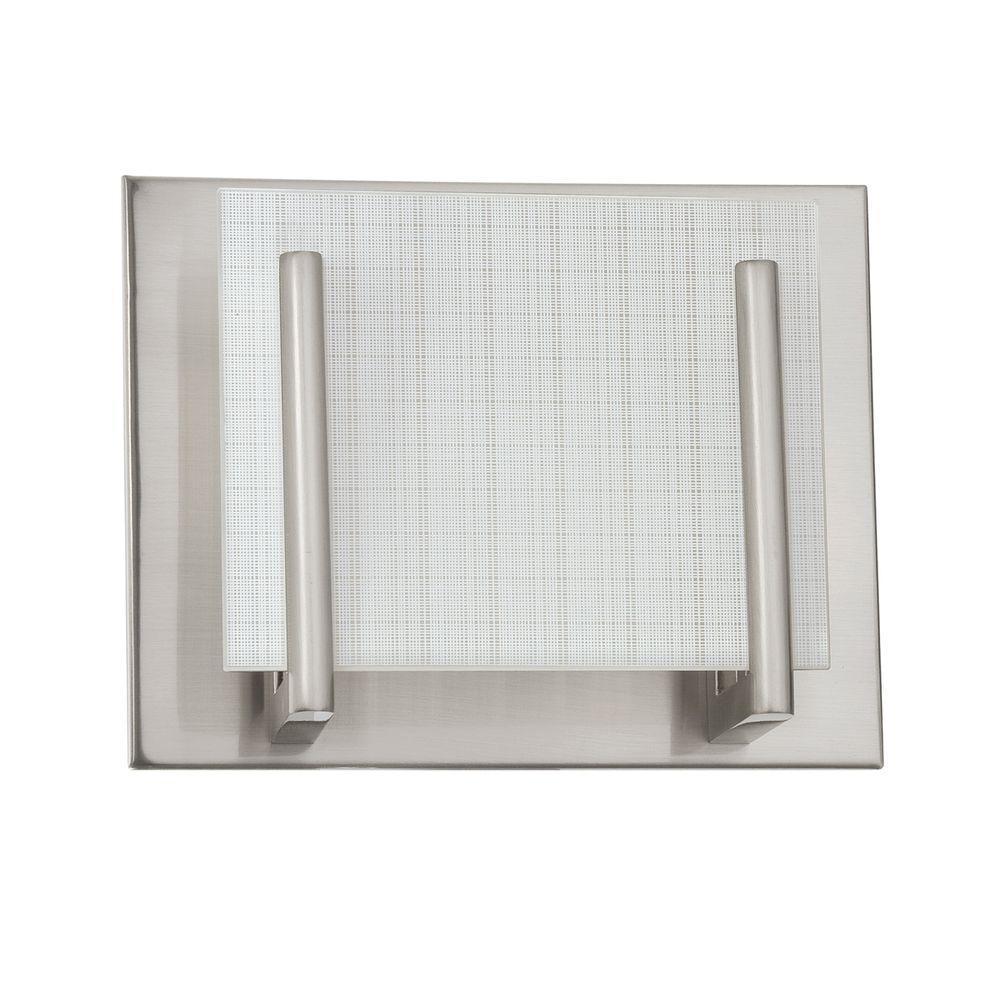 Aurora Series 1-Light Satin Nickel Vanity Light with Linen Glass