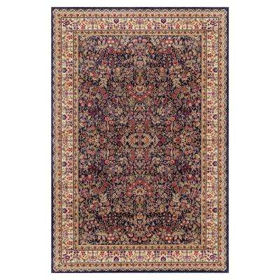 Jewel Collection Sarouk Navy Rectangle Indoor 9 ft. 3 in. x 12 ft. 6 in. Area Rug