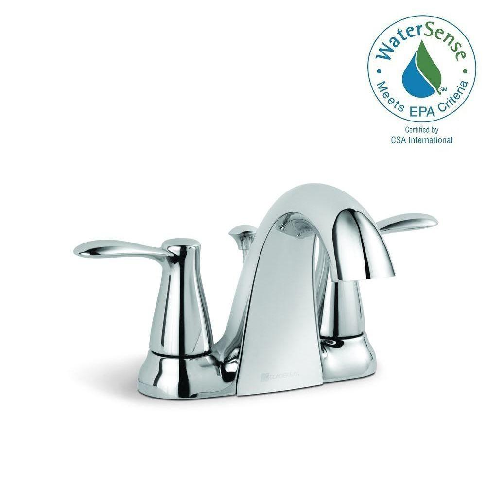 Glacier Bay Gable 4 in. Centerset 2-Handle Mid-Arc Bathroom Faucet in Chrome with Pop-Up Assembly
