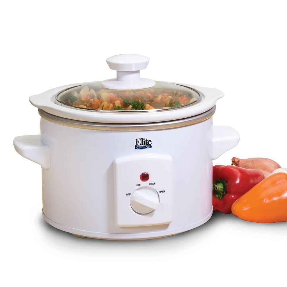 Cuisine 1.5 Qt. Slow Cooker, White Serving dips and sauces has never been so tasty. Elite by Maxi-Matic's 1.5 Qt. mini slow cooker is excellent for cooking hot delicious dipping sauces. The integrated stay-cool side handles allow for safe, easy transport. Color: White.