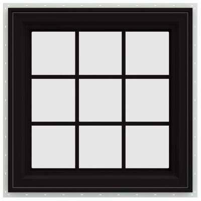 35.5 in. x 35.5 in. V-4500 Series Left-Hand Casement Vinyl Window with Grids - Black