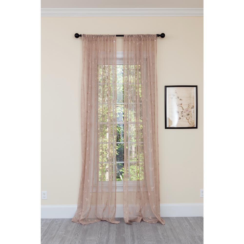 Elegant Butterfly Sheer Single Panel  Rod Pocket Curtain in Brown - 54 in. x 84 in.