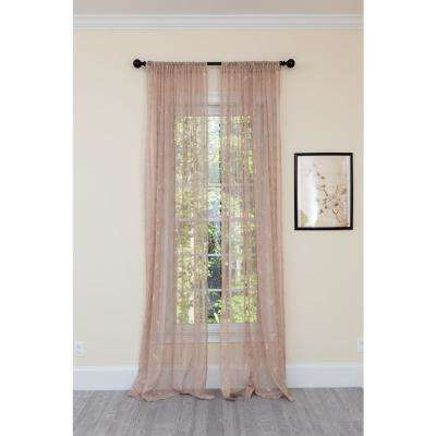Elegant Butterfly Sheer Single Panel Rod Pocket Curtain in Brown - 54 in. x 96 in.