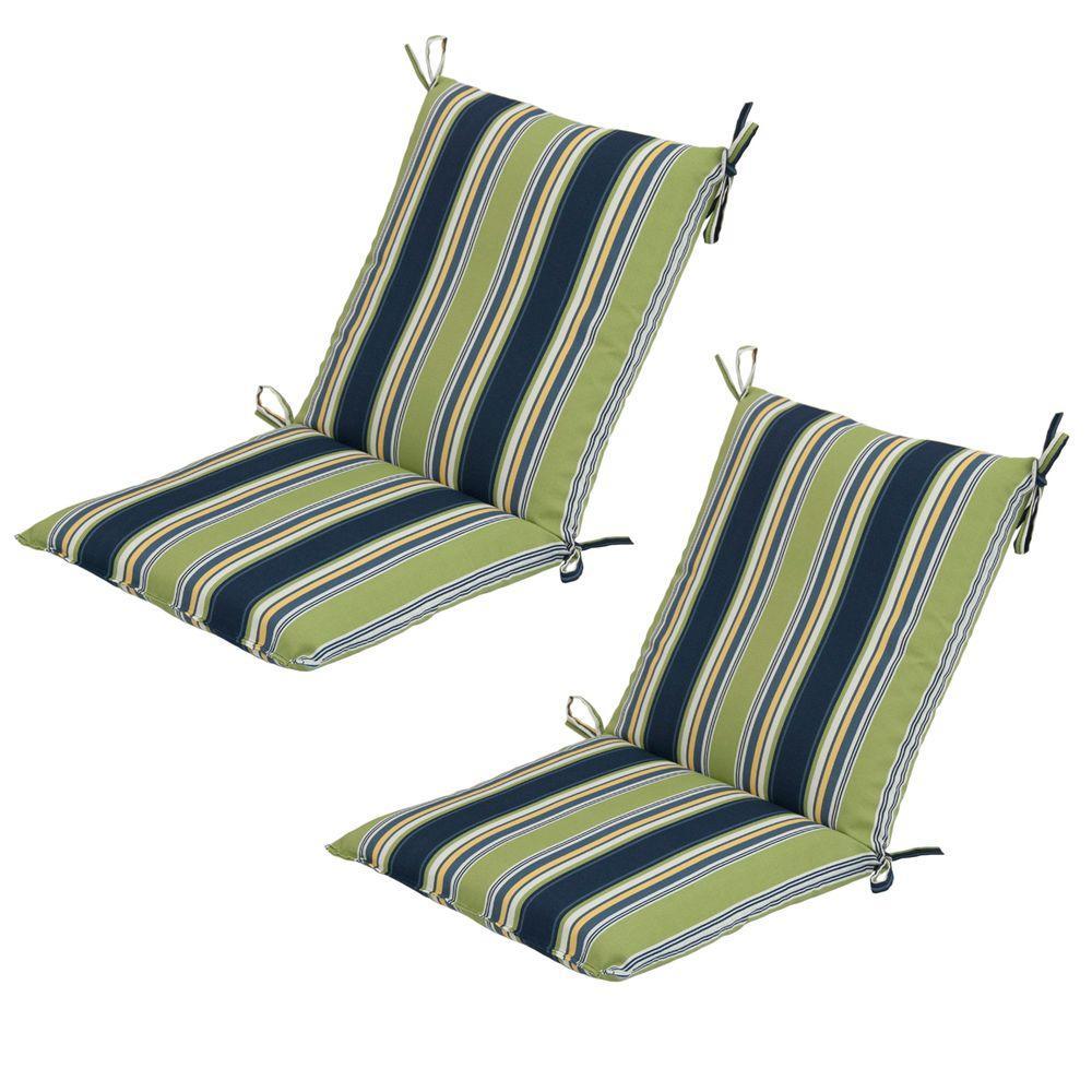 Hampton Bay Burkester Stripe Mid Back Outdoor Chair Cushion (2-Pack)