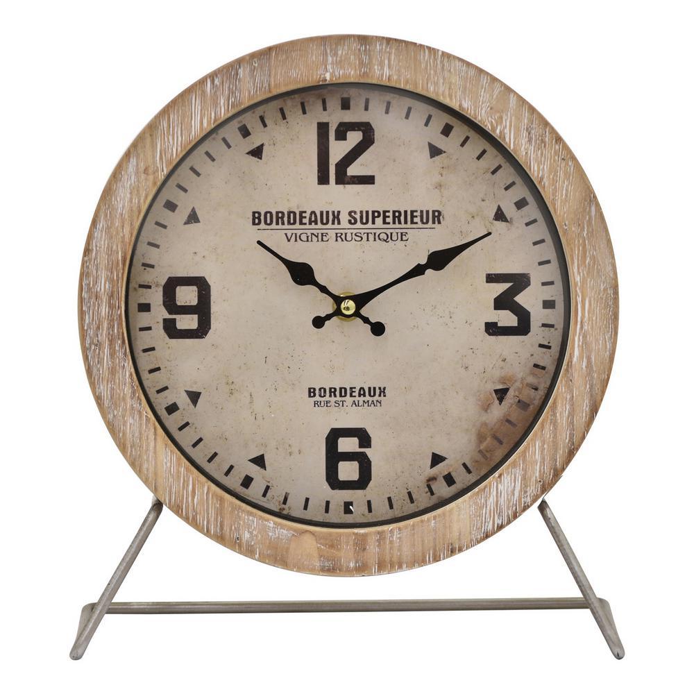 10.5 in. Brown Metal/Wood Frame Table Clock