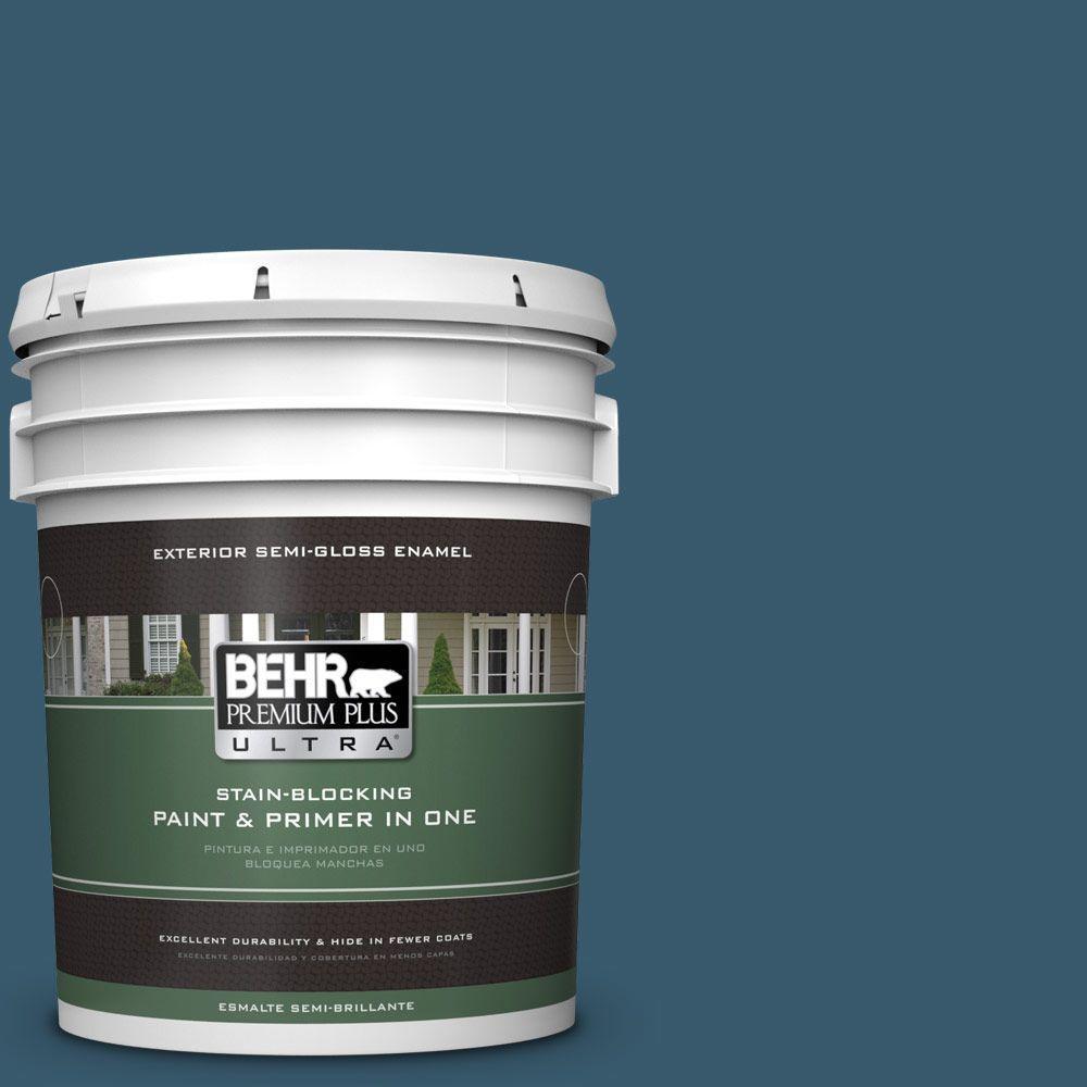 5-gal. #550F-7 Blue Spell Semi-Gloss Enamel Exterior Paint