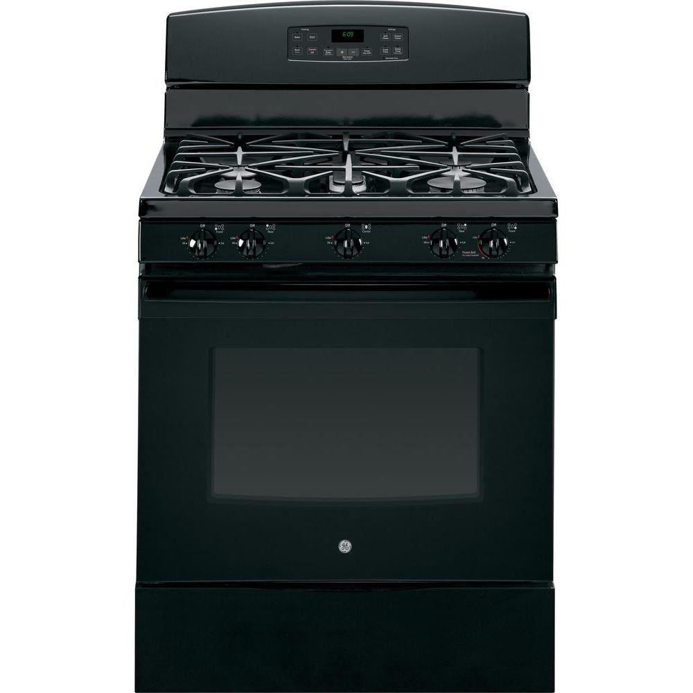 GE 5.0 cu. ft. Gas Range with Self-Cleaning Convection Oven in Black