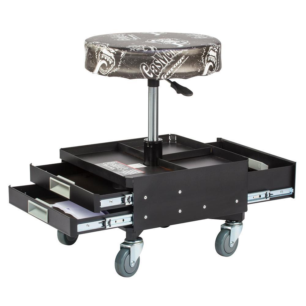 Gas monkey pneumatic garage seat with toolbox 3 drawers for Garage seat guilherand granges