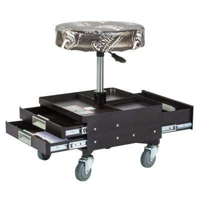Pneumatic Garage Seat with Toolbox - 3-Drawers and Tool Tray - 4 Rolling casters with 300 lbs. Capacity