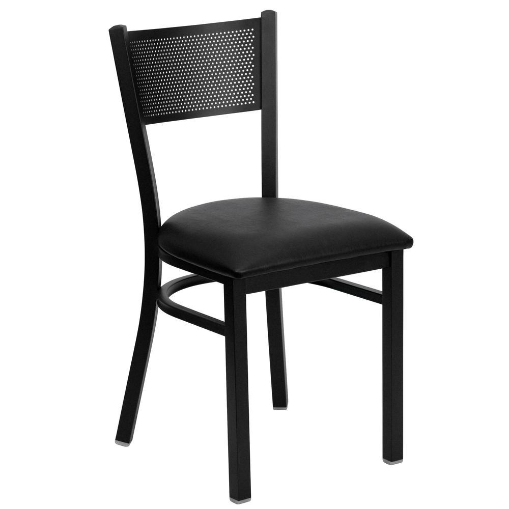 Hercules Series Black Grid Back Metal Restaurant Chair with Black Vinyl Seat