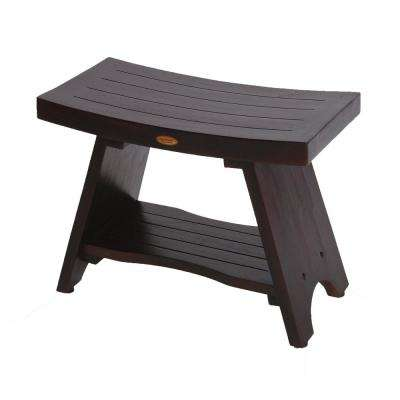 Serenity 30 in. Eastern Style Teak Shower Bench Stool with Shelf