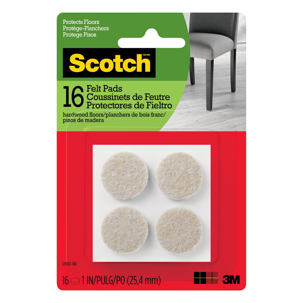 Beige Round Surface Protection Felt Floor Pads (16 Pack)