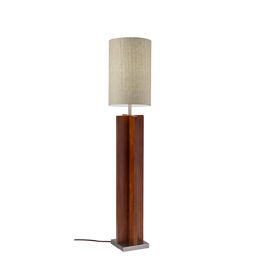 64.5 in. Walnut Birch Wood Floor Lamp