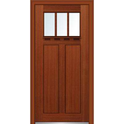 32 in. x 80 in. Left-Hand Inswing 3-Lite Clear 2-Panel Shaker Stained Fiberglass Fir Prehung Front Door with Shelf