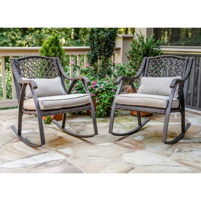 Fannin Aluminum Outdoor Rocking Chair with Tan Cushions (2-Pack)