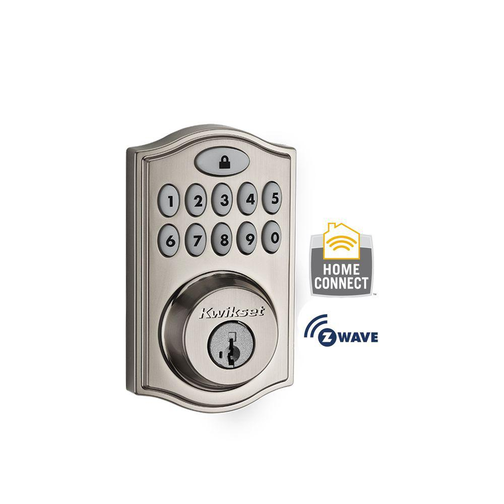 Kwikset Z-Wave SmartCode 914 Satin Nickel Single Cylinder Electronic Deadbolt Featuring SmartKey Security