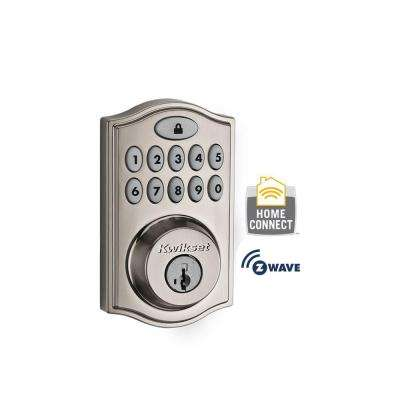 Z-Wave SmartCode 914 Satin Nickel Single Cylinder Electronic Deadbolt featuring SmartKey