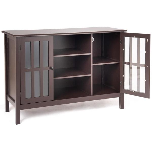 Elegant Design Brown 3-Tier TV Stand Console Cabinet for 45 in. TV