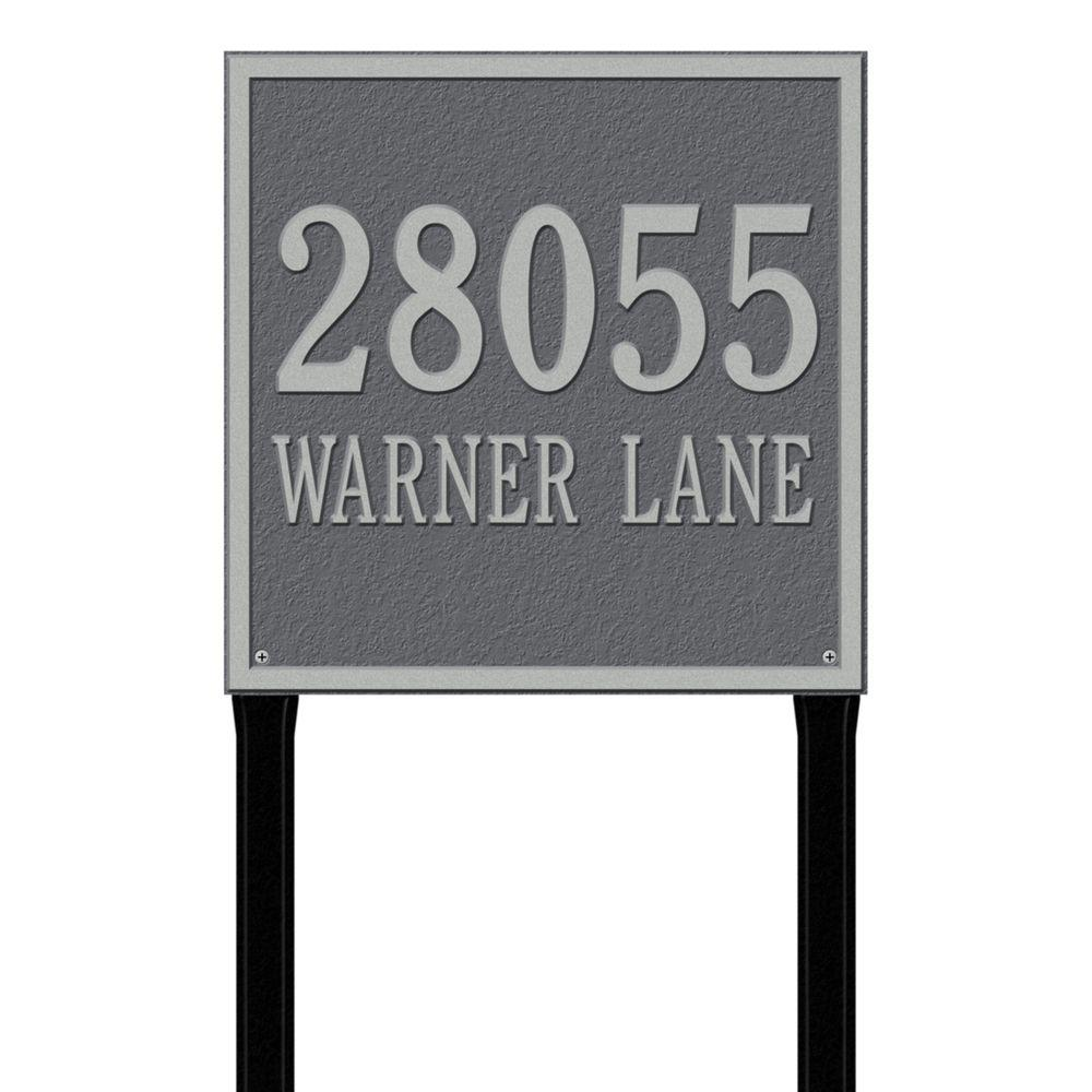Whitehall Products Square Estate Lawn 2-Line Address Plaque - Pewter/Silver