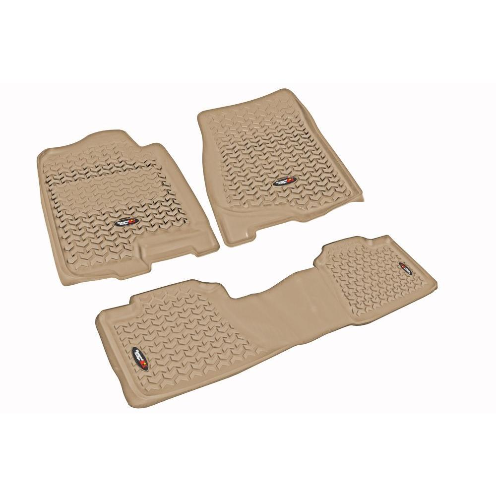 Rugged Ridge Floor Liner Set 3-Piece Tan 1500/2500/3500 Silverado Crew Cab