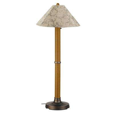Bahama Weave 60 in. Mocha Cream Floor Lamp with Bessemer Shade