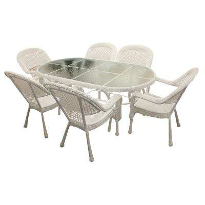 7-Piece White Resin Wicker Patio Dining Set (6 Chairs and 1 Dining Table)