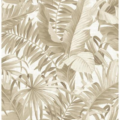 56.4 sq. ft. Alfresco Taupe Palm Leaf Wallpaper
