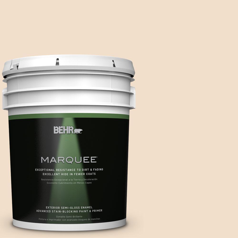 BEHR MARQUEE 5-gal. #S250-1 Macaroon Cream Semi-Gloss Enamel Exterior Paint