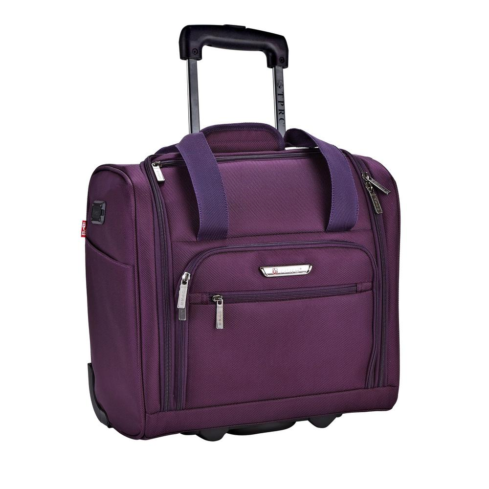 15 in. Purple Underseater Carry-On Rolling Briefcase with 2-in-1 Function (USB