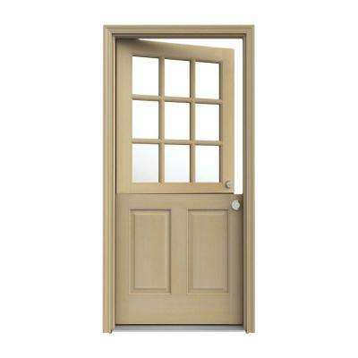 30 in. x 80 in. 9 Lite Unfinished Wood Prehung Left-Hand Inswing Dutch Back Door with AuraLast Jamb and Brickmold