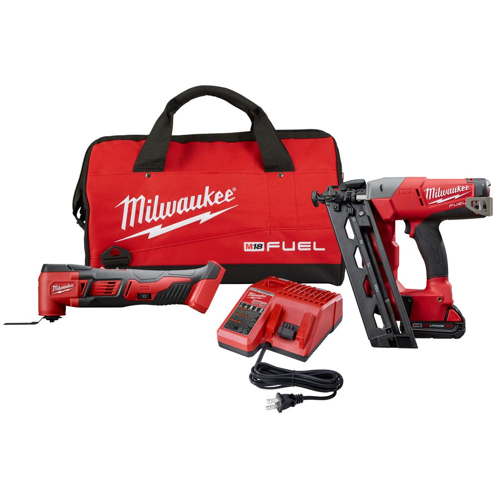 Milwaukee M18 FUEL 18-Volt Lithium-Ion Brushless Cordless 16-Gauge Angled Nailer Kit with Free M18 Cordless Multi-Tool