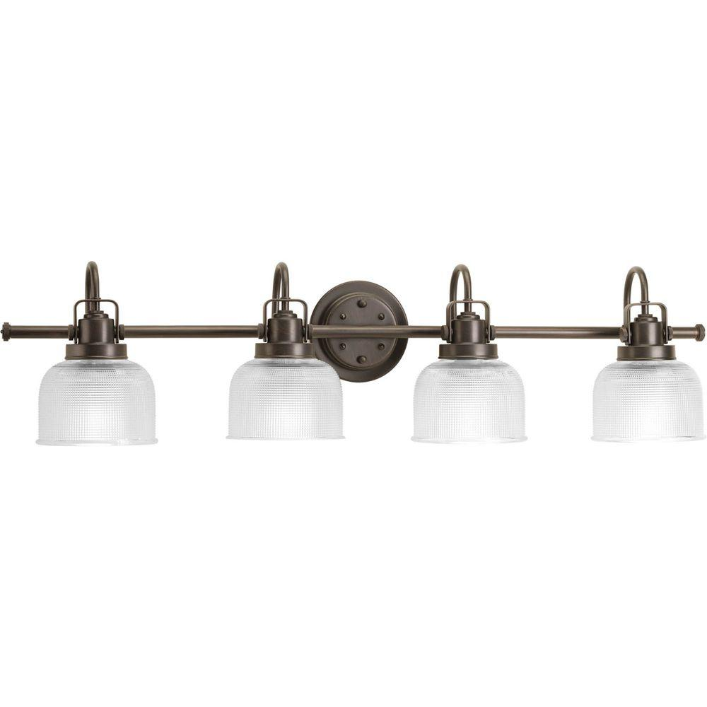 4 Light Venetian Bronze Bathroom Vanity Light With Glass Shades