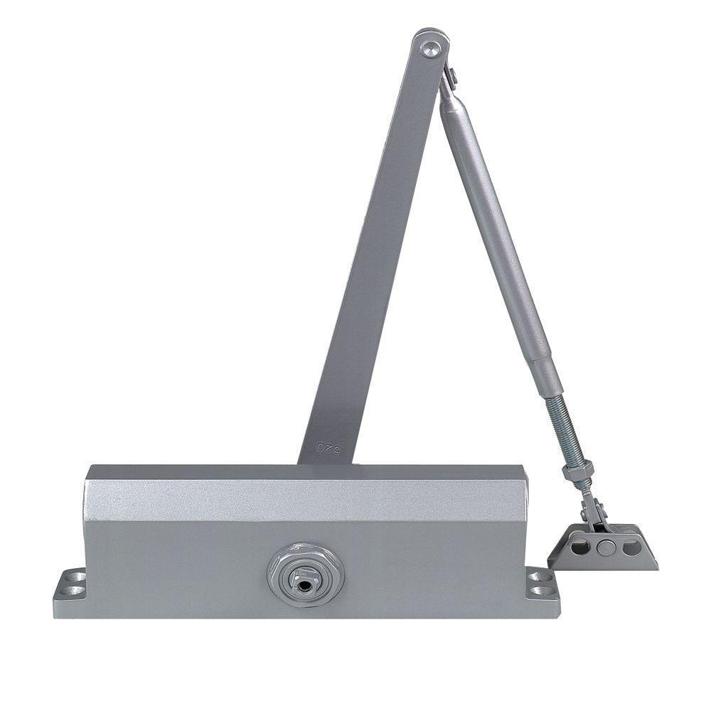 Global Door Controls Commercial ADA Door Closer in Aluminum with Adjustable Spring Tension - Sizes 1-4
