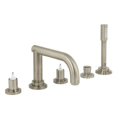 Atrio 2-Handle Deck Mount Roman Bathtub Faucet with Handheld Shower in Brushed Nickel