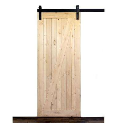 36 in. x 84 in. Krosswood Knotty Alder 1 Panel Full Z Solid Wood Core Interior Barn Door Slab