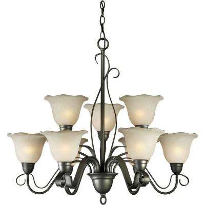 Burton 9-Light Natural Iron Incandescent Semi-Flush Chandelier