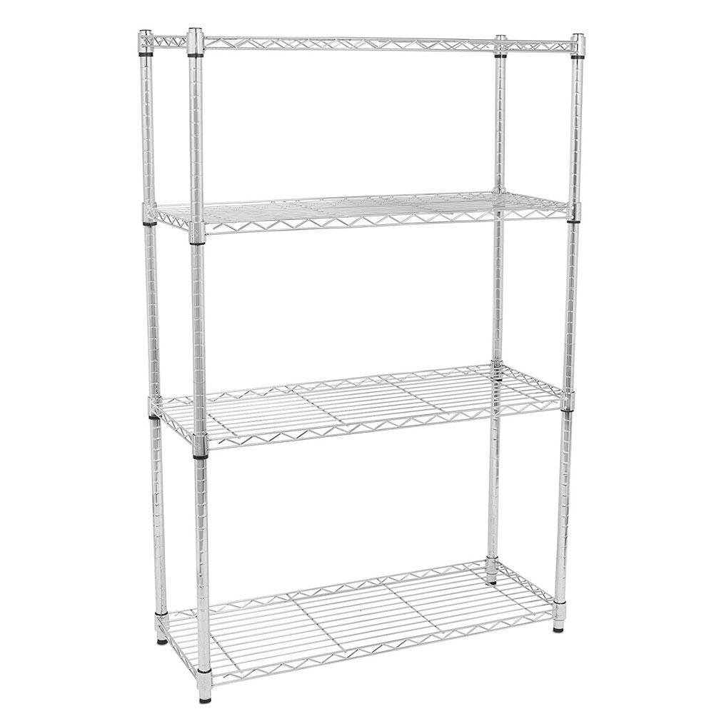 55 in h x 14 in w x 35 in d chrome 4 layer shelves kitchen cart rh homedepot com Chrome Display Shelves chrome kitchen shelving unit