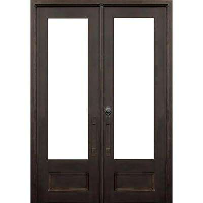 64 in. x 96 in. Marco Island Flat Top Dark Bronze 3/4 Lite Painted Wrought Iron Prehung Front Door (Hardware Included)