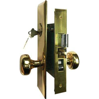 Brass Mortise Entry Right Hand Door Lock Set with 2-3/4 in. Backset, 2 SC1 Keys and Wide Face Plate-Hex