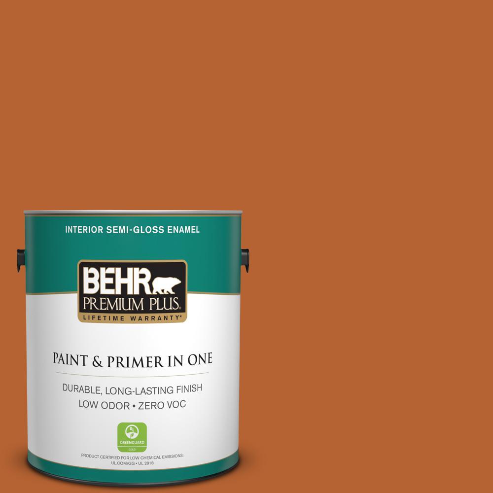 BEHR Premium Plus 1-gal. #250D-7 Caramelized Orange Zero VOC Semi-Gloss Enamel Interior Paint